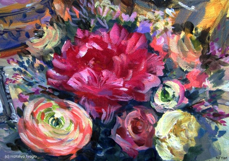 Details of Symbolic Flowers from a 24x36 painitng. A large, lush peony symbolises romance and prosperity and was painted to wish good fortune and a happy, lasting, marriage.